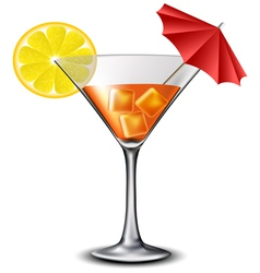Orange cocktail with lemon slice and umbrella vector image