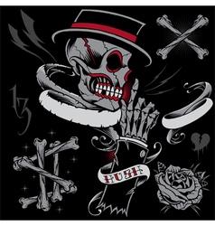 Skull Skeleton Hand Bones and Ribbons vector image vector image