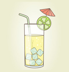 a glass with a cocktail slice of lemon with vector image