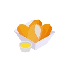 Chicken nuggets icon isometric 3d style vector image