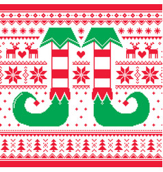 Christmas seamless pattern with elf and reindeer vector