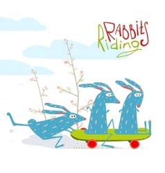 Colorful Funny Cartoon Rabbits Riding Skateboard vector image vector image