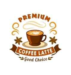 Retro coffee badge with cup of latte vector image vector image