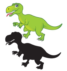 T Rex cartoon and silhouette vector image vector image