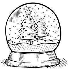 doodle snow globe vector image