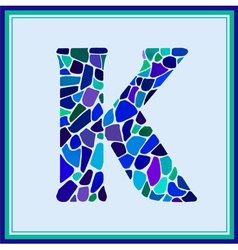 K - letter - Green Watercolor mosaic vector image vector image