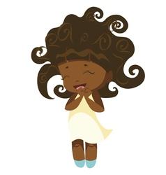 kawaii afro princess vector image vector image