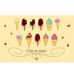 Set of icons of ice cream vector image vector image