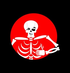Skeleton showing thumbs up Signs all right Happy vector image