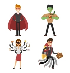 Superhero business man and woman in action vector image