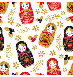 traditional russian doll seamless pattern vector image