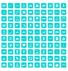 100 paying money icons set grunge blue vector image