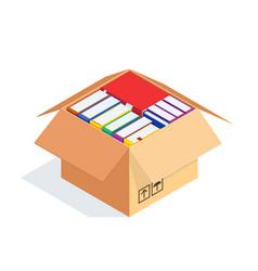 3d stacks books in a cardboard box vector