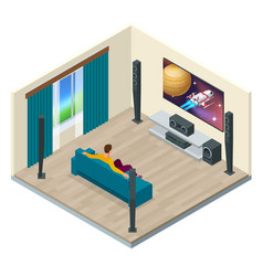 A contemporary home theater room digitally vector