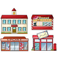A school donut store sport shop and a post office vector image vector image