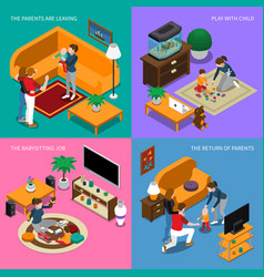 Baby sitter isometric concept vector