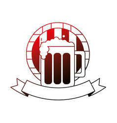 beer glass barrel beverage alcohol emblem vector image