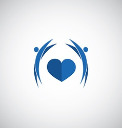 blue heart care logo vector image
