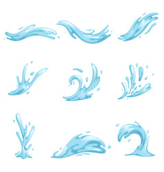 Blue waves and water splashes set wavy symbols of vector