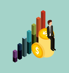 businessman sitting pile coins money and graph vector image