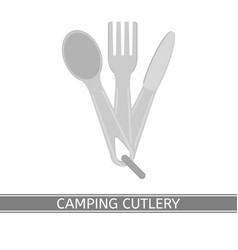 Camping cutlery isolated vector