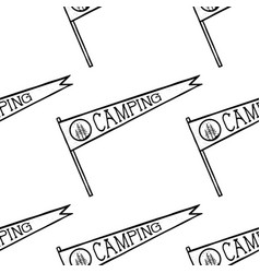 Camping pennant seamless pattern monochrome line vector