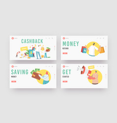 Cash back landing page template set happy people vector