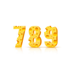 cheese font 3d symbol numbers 7 8 9 set vector image
