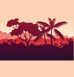 Collection of jungle scenery at morning vector