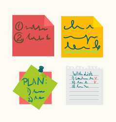 colorful sticky notes with writings set on white vector image