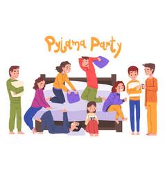 Cute children having fun on slumber party boys vector