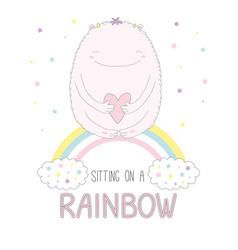 Cute monster sitting on a rainbow vector