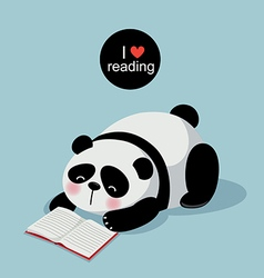 Cute panda reading a book on gray background vector