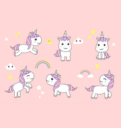 Cute unicorns cartoon happy fun baby unicorn vector