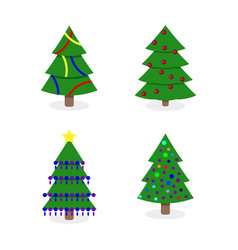 decorated christmas tree collection vector image