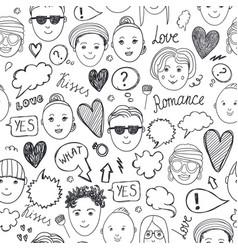 Faces seamless pattern emotions doodle freehand vector