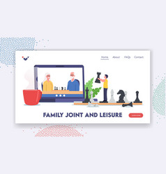 family joint and leisure landing page template vector image