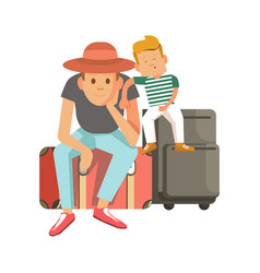 Father and son sit on suitcases and wait vector