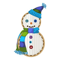 festive patch in the form of cartoon snowman vector image