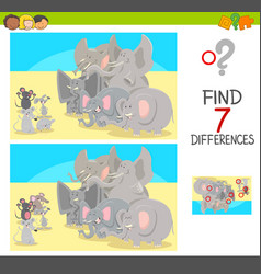 Find differences game with animal characters vector