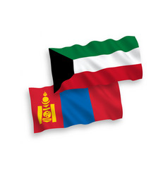Flags mongolia and kuwait on a white background vector