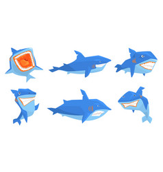 flat set of blue shark in different poses vector image