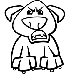 furious dog cartoon coloring page vector image