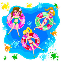 girls swim with an inflatable circle vector image