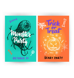 halloween flyer template vector image