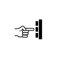 hand press button flat icon vector image