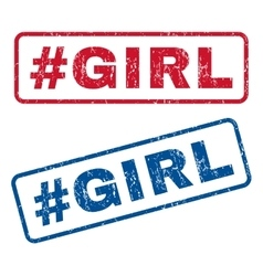 Hashtag Girl Rubber Stamps vector