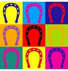 Horseshoe sign Pop-art style icons set vector image