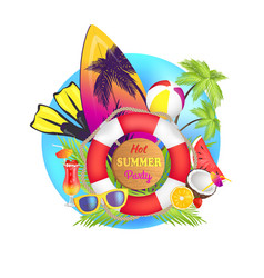 hot summer party poster text vector image