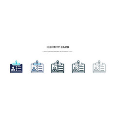 identity card icon in different style two vector image